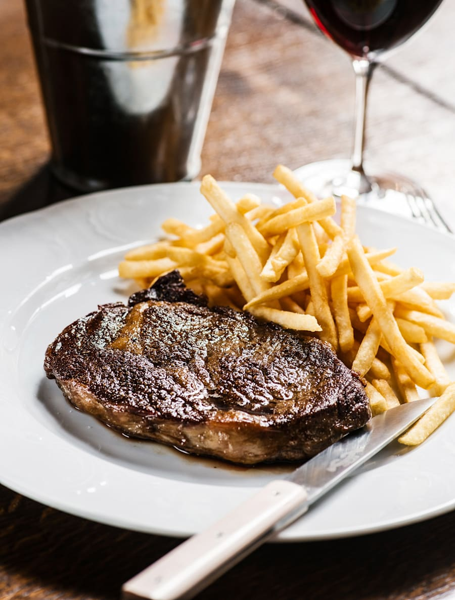 Steak and chips, but