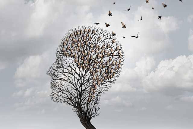 Memory loss concept and Alzheimer patient surreal symbol as a medical mental health care concept with an empty head shaped  tree