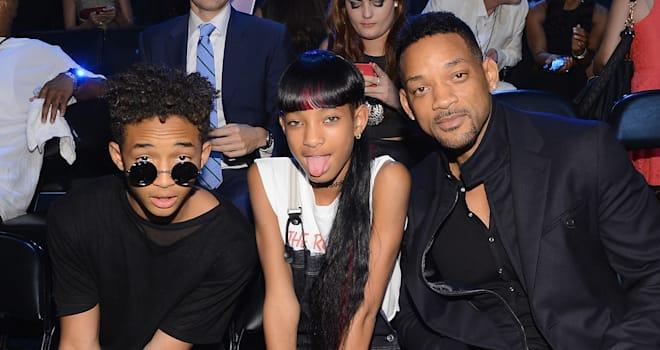 Jaden Smith, Willow Smith, and Will Smith at the 2013 MTV Video Music Awards