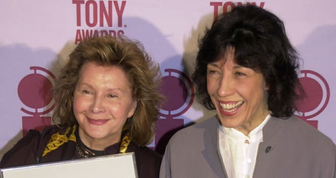 Jane Wagner and Lily Tomlin Hold Up Their 2001 Tony Award Nominations