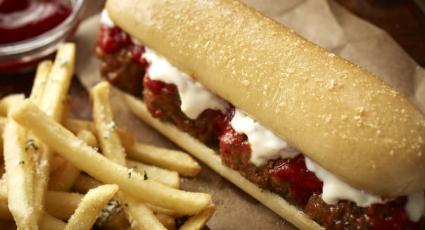 This undated product image provided by Darden Restaurants shows Olive Garden's new meatball breadstick sandwich. The addition of breadstick sandwiches are just the latest attempt to revamp Olive Garden's menu and marketing as sales have declined for the past three of its fiscal years. (AP Photo/Darden Restaurants)