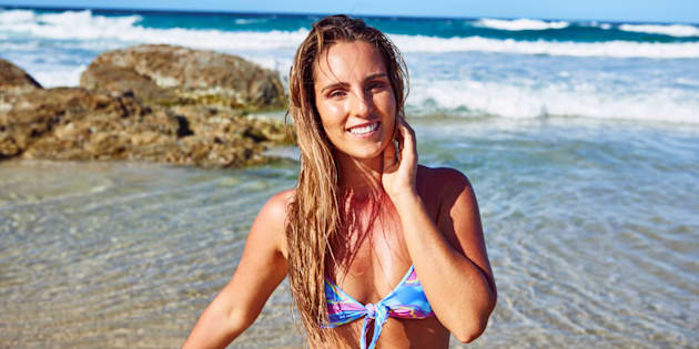 Steph Gabriel, pictured, has designed the Summer Somewhere range of eco-friendly bikinis