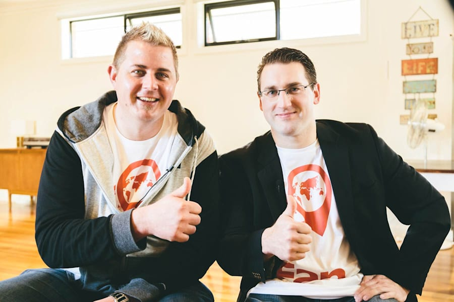 Joel Anderson, left, and Daniel Charlesworth are still working full time jobs while they develop Fan...