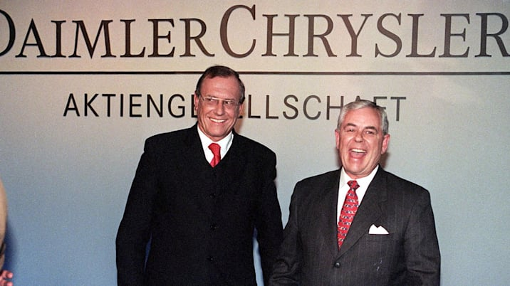 Daimler-Benz chairman Juergen Schrempp (left) and