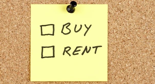 Buy and Rent Checkboxes on an Adhesive Note