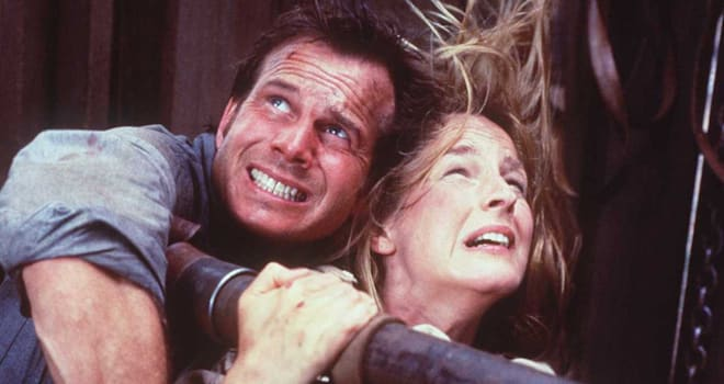 """375181 02: 1996 BILL PAXTON AND HELEN HUNT AS JO HARDING IN THE ACTION THRILLER """"TWISTER"""""""