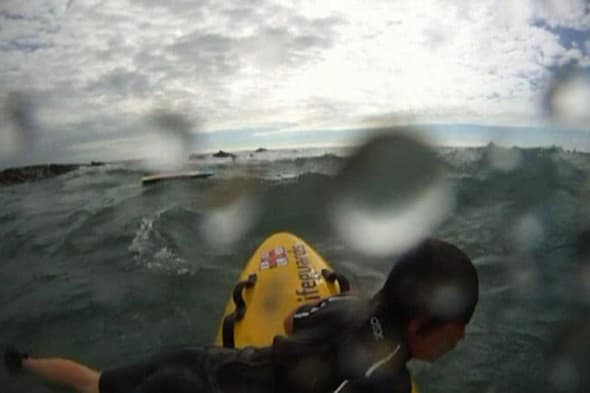 Cornwall beach dramatic sea rescue caught on GoPro camera