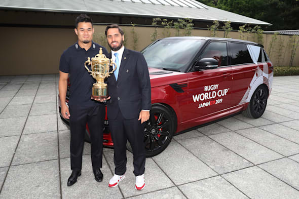 KYOTO, JAPAN - MAY 10:  Yu Tamura of Japan and Agustin Pichot, Vice-Chairman of World Rugby pose with The William Webb Ellis Cup during the Rugby World Cup 2019 Pool Draw at the Kyoto State Guest House on May 10, 2017 in Kyoto, Japan.  (Photo by Dave Rogers - World Rugby/World Rugby via Getty Images)