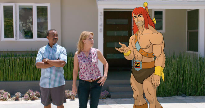 SON OF ZORN: L-R: Tim Meadows, Cheryl Hines and Zorn (voiced by Jason Sudeikis) in SON OF ZORN premiering Sunday, Sept. 25 (8:30-9:00 PM ET/PT) on FOX.