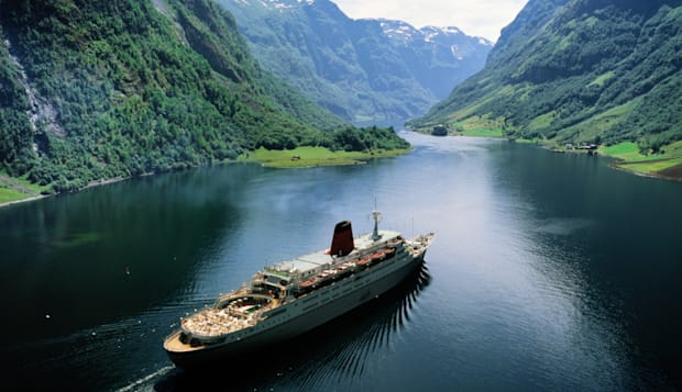 Norway,Sognefjorden,passenger liner sailing along the Neroyfjord