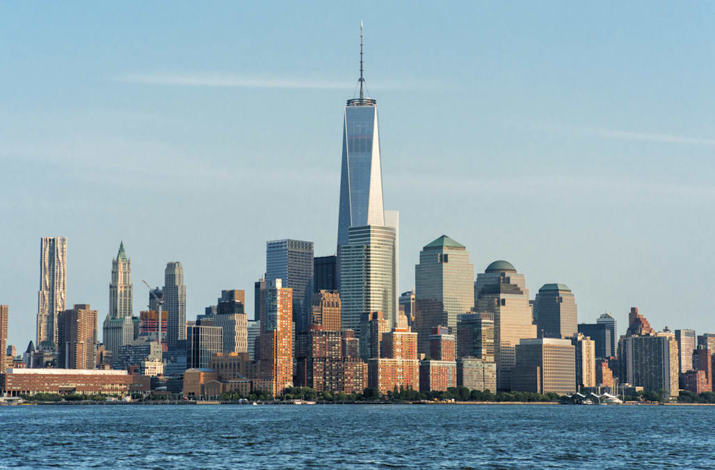 Lower Manhattan (One World Trade Center) and surrounding buildings