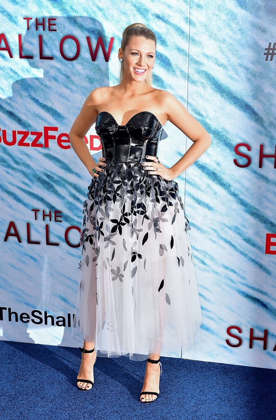 A day earlier she attended 'The Shallows' World Premiere in New York City. An S and M style latex bodice...