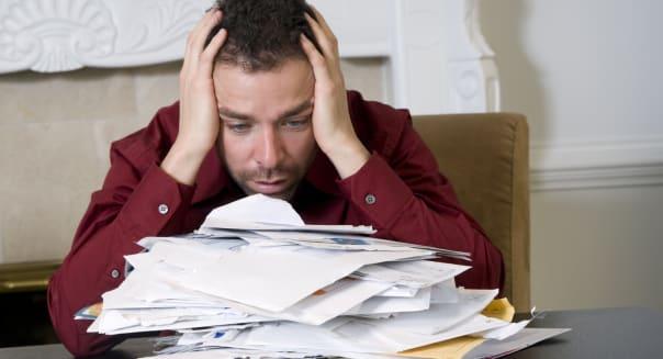 Frustrated bankrupt man.