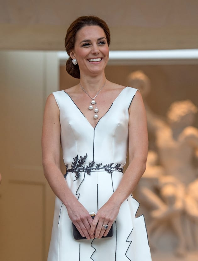 Catherine, Duchess of Cambridge attends the Queen's Birthday Garden Party at the Orangeryeduring an official...