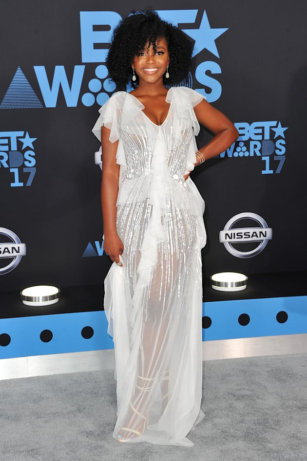 Actress Lovie Simone arrives at the 2017 BET Awards at Microsoft Theater on June 25, 2017 in Los Angeles,...