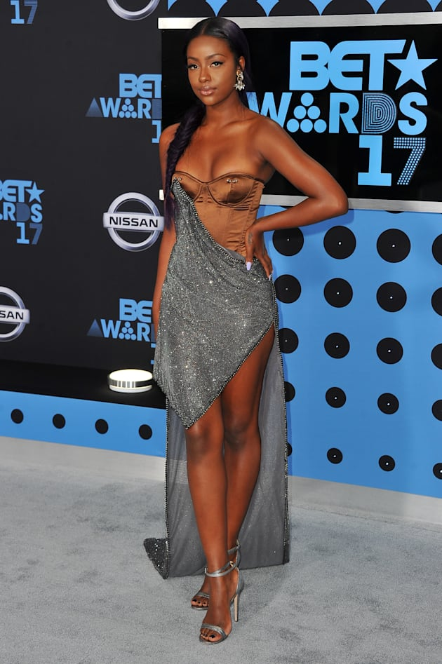 Actress Justine Skye arrives at the 2017 BET Awards at Microsoft Theater on June 25, 2017 in Los Angeles,...