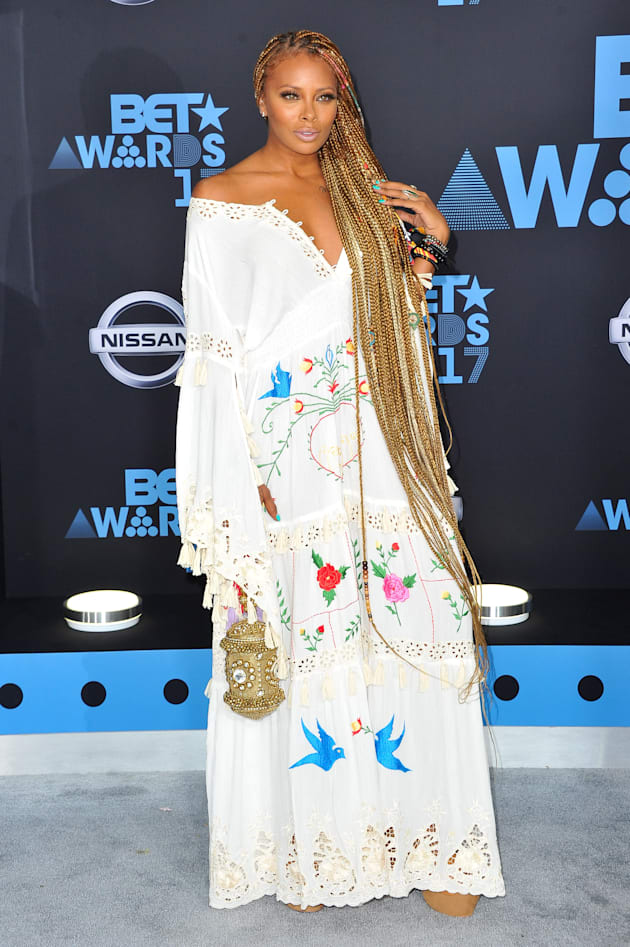 Eva Marcille arrives at the 2017 BET Awards at Microsoft Theater on June 25, 2017 in Los Angeles, California....