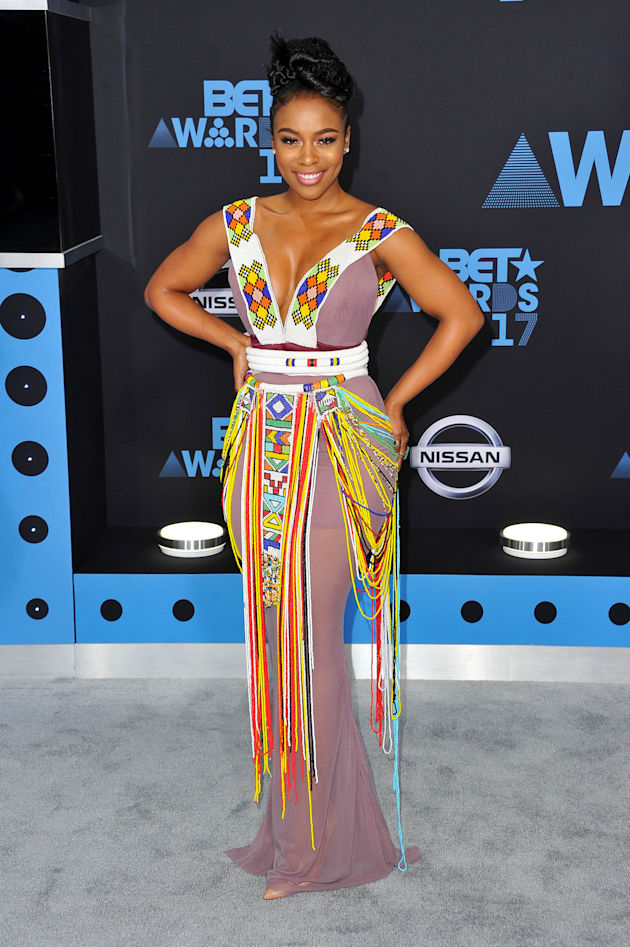 Actress Nomzamo Mbatha arrives at the 2017 BET Awards at Microsoft Theater on June 25, 2017 in Los Angeles,...