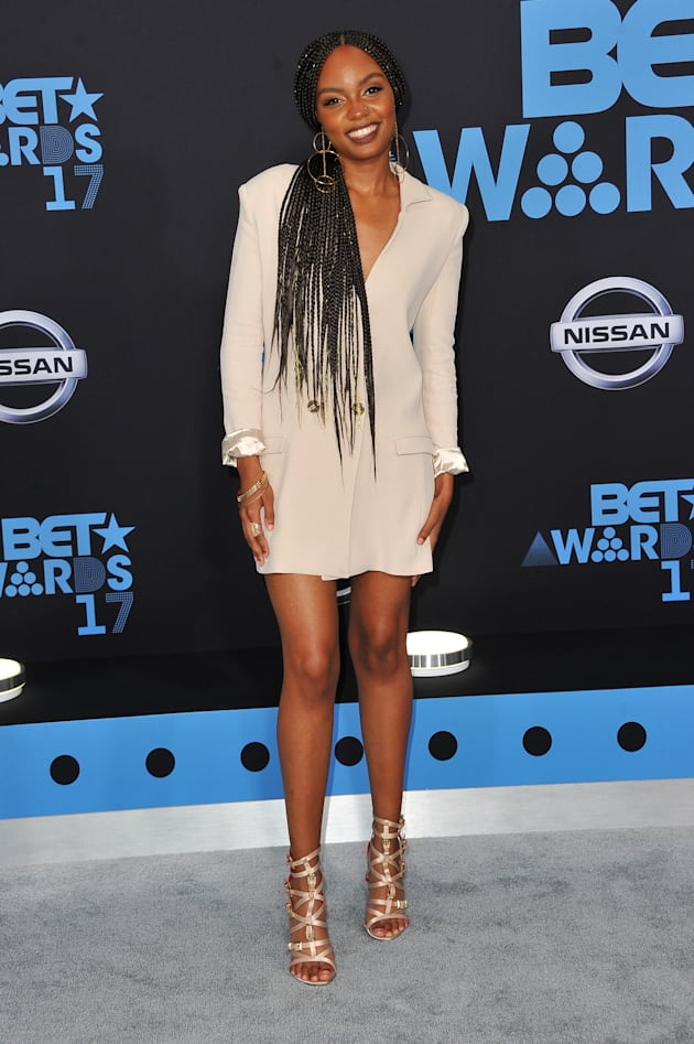 Sierra McClain arrives at the 2017 BET Awards at Microsoft Theater on June 25, 2017 in Los Angeles, California....