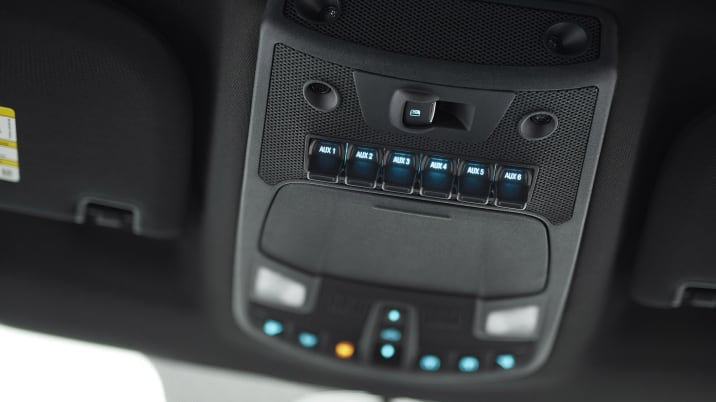 The all-new F-150 Raptor houses auxiliary switches to control aftermarket equipment such as lights or an air compressor out of the driver's way mounted in the cab's overhead console, similar to a fighter plane.