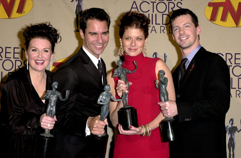 US actors (L-R) Megan Mullally, Eric McCormack, De