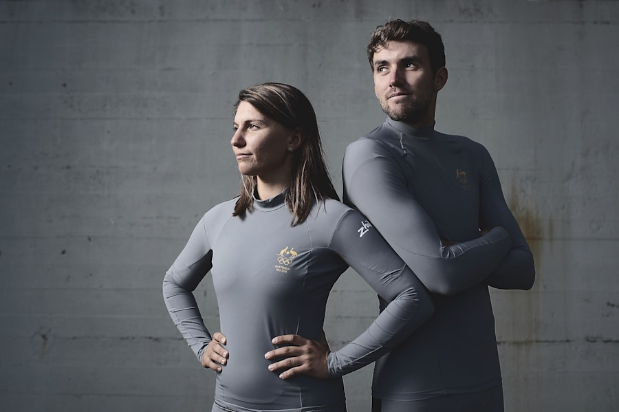 Australian Olympic sailors Lisa Darmanin and Jason Waterhouse in their Zhik