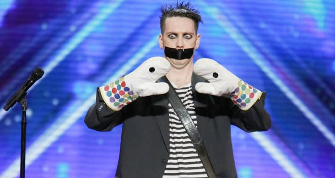 "AMERICA'S GOT TALENT -- ""Auditions Pasadena Civic Auditorium"" -- Pictured: Tape Face -- (Photo by: Trae Patton/NBC)"