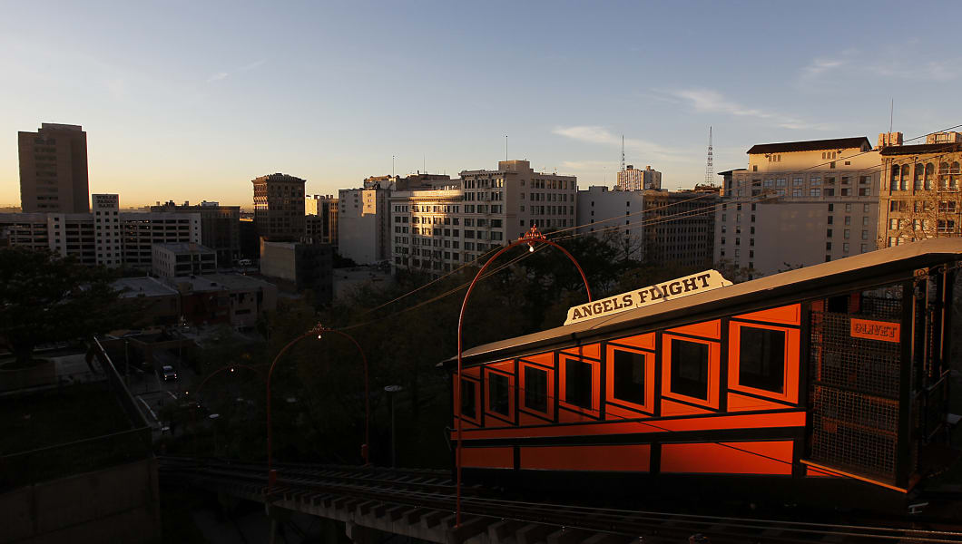 The Angels Flight Railway reopens after nine years. A few Angels enthusiasts are the first to ride