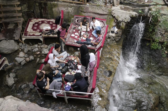 Seating in river in Darband