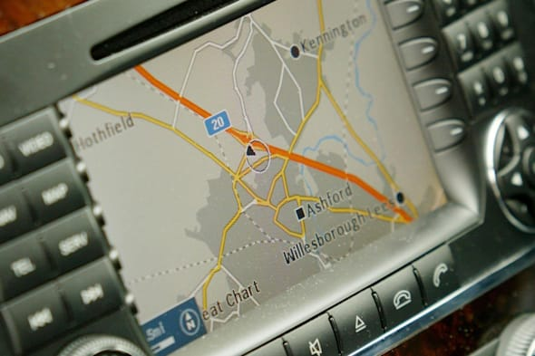An built in satellite navigation system, sat nav in a car....