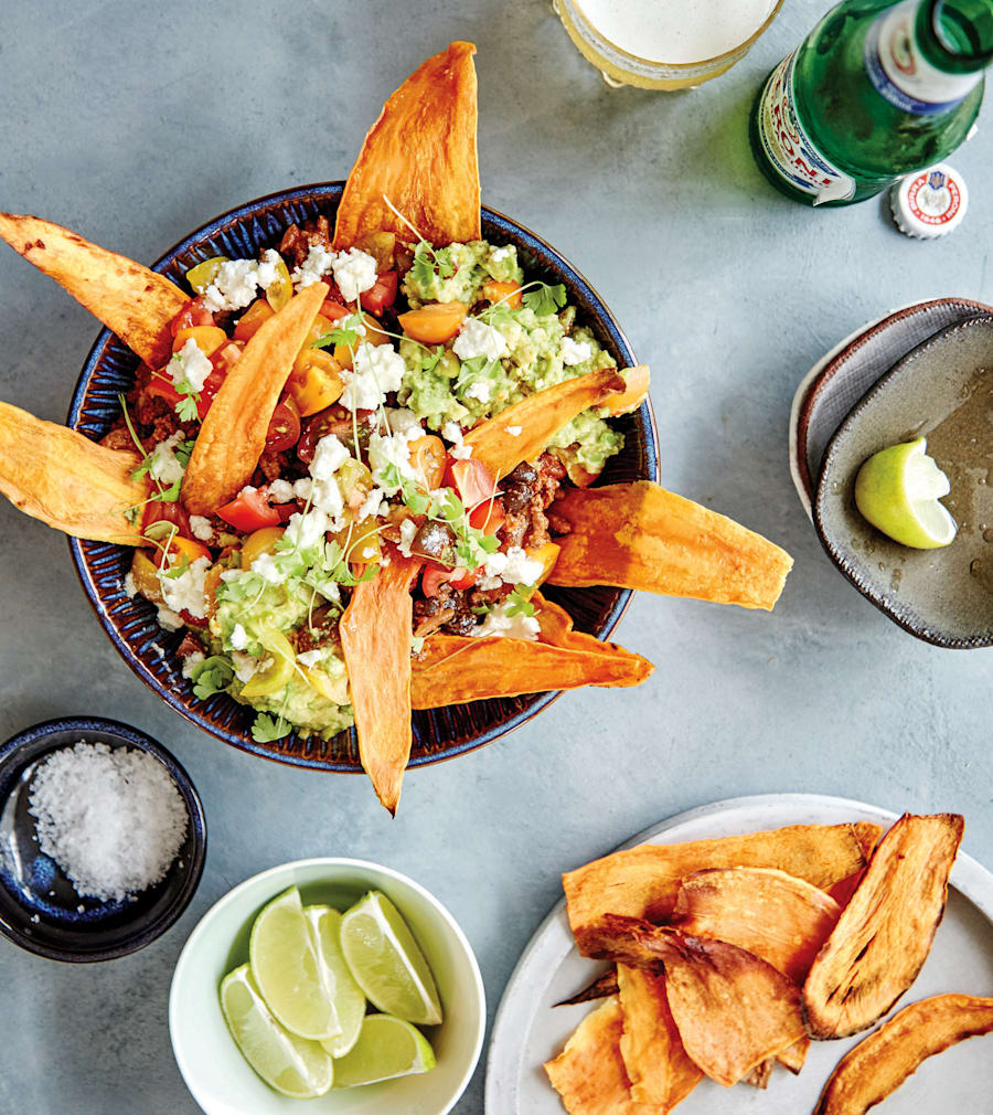 Subbing sweet potato for corn chips gives this nacho dish a nutritious