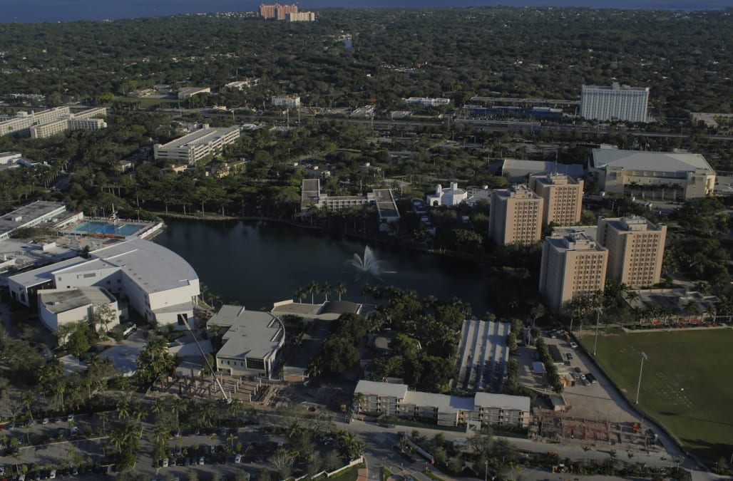Helicopter ride over University of Miami main campus