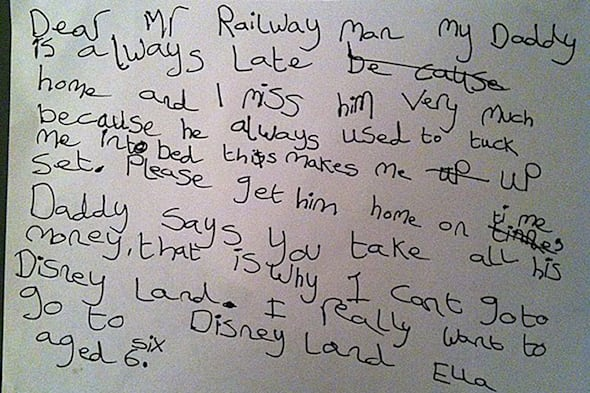 Six-year-old girl pleads with rail bosses to improve services so that she can see her dad