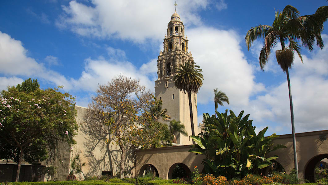 View of the ornate California Tower from the Alcazar Gardens in Balboa Park in San Diego