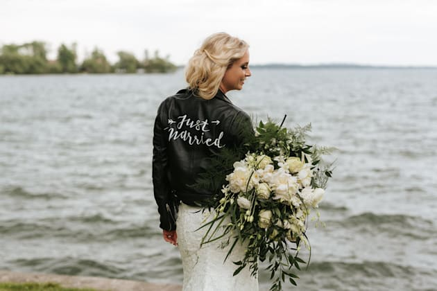 Brit Littleford posing in the jacket on her wedding