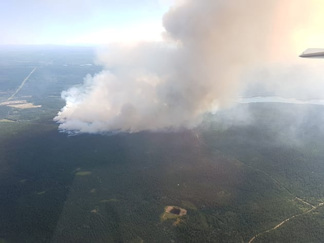 Wildfires seen near 100 Mile House in British Columbia on July 7,