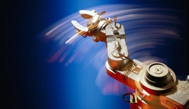 MOTION SHOT OF ROBOT ARM