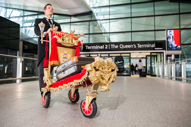 Heathrow Airport Terminal 2 London singing trolley
