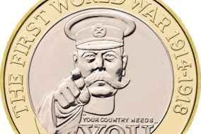Undated handout photo issued by the Royal Mint of its commemorative ?2 coin depicting Lord Kitchener's famous call to arms whcih the Plaid Cymru candidate Dai Lloyd has called to be scrapped as the souvenir item