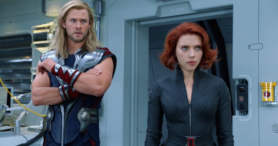 """Marvel's The Avengers"" ..Thor (Chris Hemsworth) and Black Widow (Scarlett Johansson)..Ph: Film Frame..� 2011 MVLFFLLC. TM & � 2011 Marvel.  All Rights Reserved."