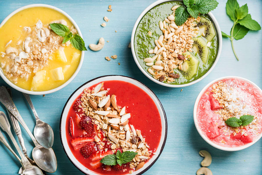 Top your smoothie bowls with nuts, granola and more fresh