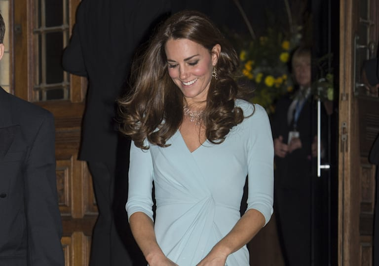 Duchess Kate is a vision in pale blue Jenny Packham gown