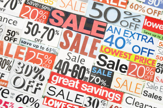 Sale signs, newspaper and flyers clippings - IX
