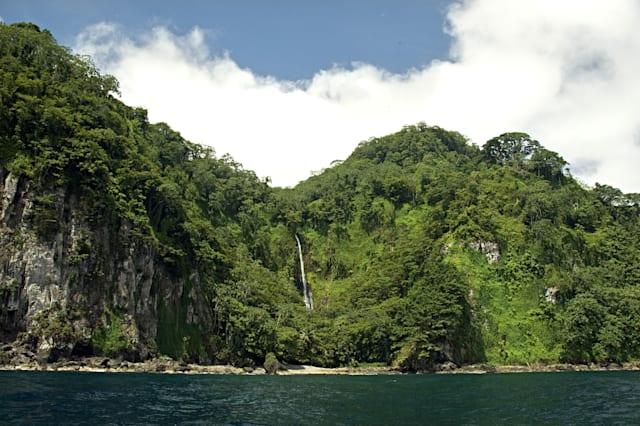 Waterfall on remote and pristine Cocos Island, 350 miles off the Pacific coast of Costa Rica.