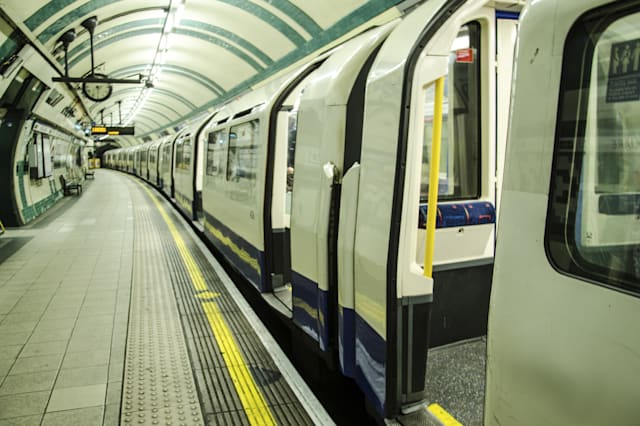 A train stopped in one of the stations of London's tube.
