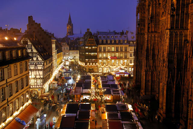 France, Bas Rhin, Strasbourg, Christmas market stalls Place de la Cathedrale