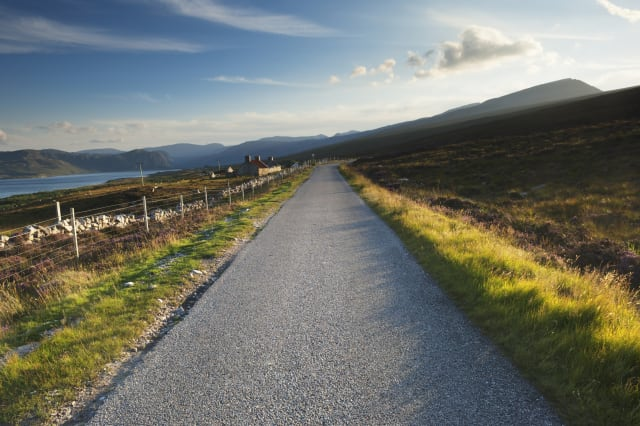 Single-track road through the Scottish Highlands