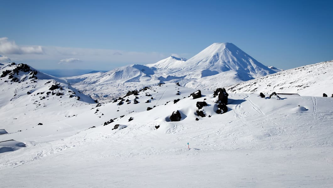 Mt Ngauruhoe from Mt Ruapehu Whakapapa Ski Field New Zealand