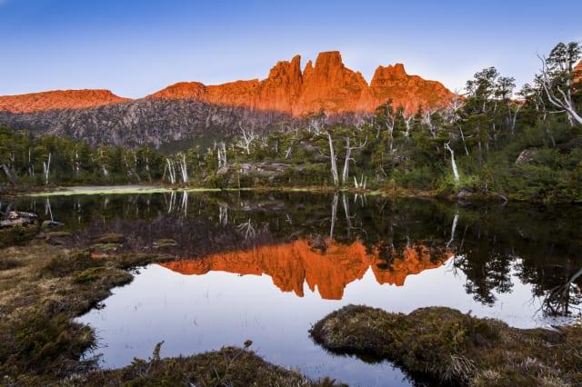 Sunset over mt Acropolis, in the Cradle Mountain Lake St Clair national Park, Tasmania, Australia