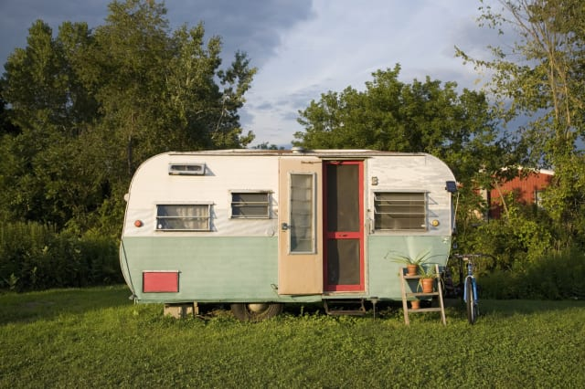 Camping trailer in park